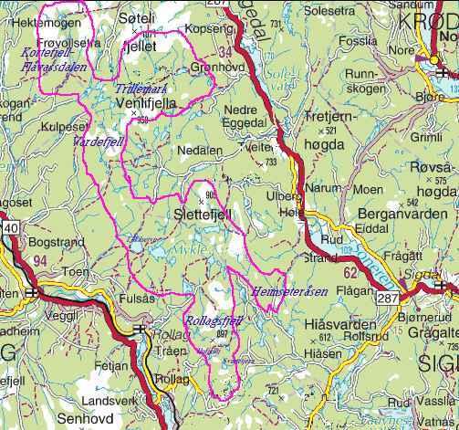 kart eggedal Trillemarka Naturreservat kart eggedal